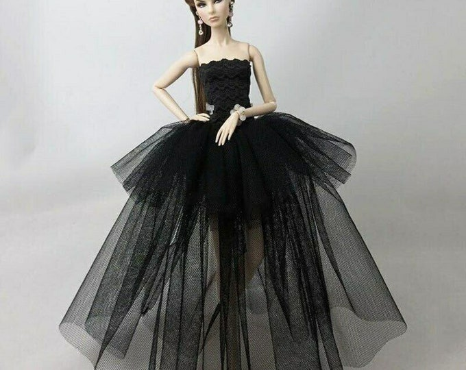 Barbie Doll Fashion Black Long Gown and Shoes