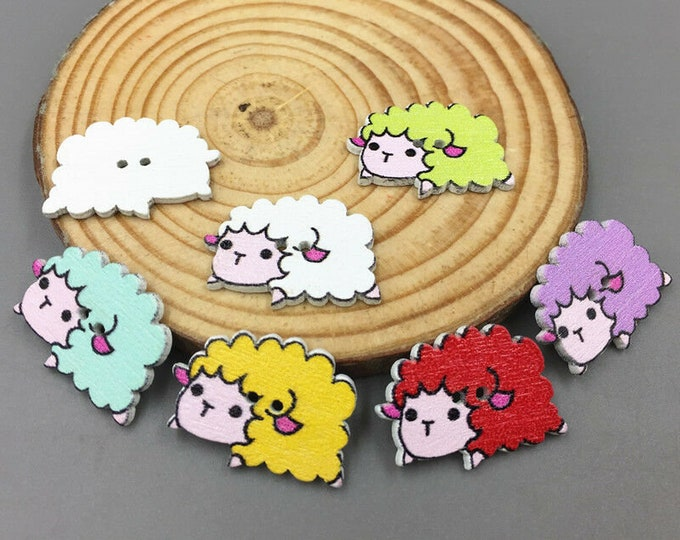 Buttons Dye Cut sheep Soft colors  set of 10  /  101