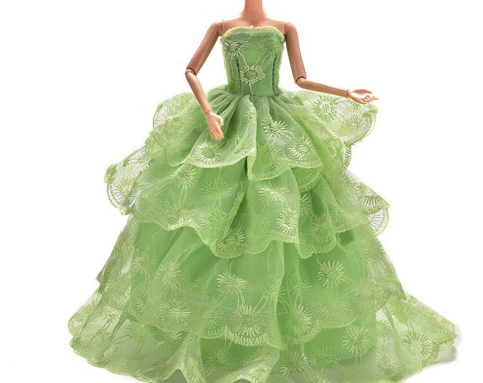 BARBIE EMBROIDERY GREEN Gown And Shoes