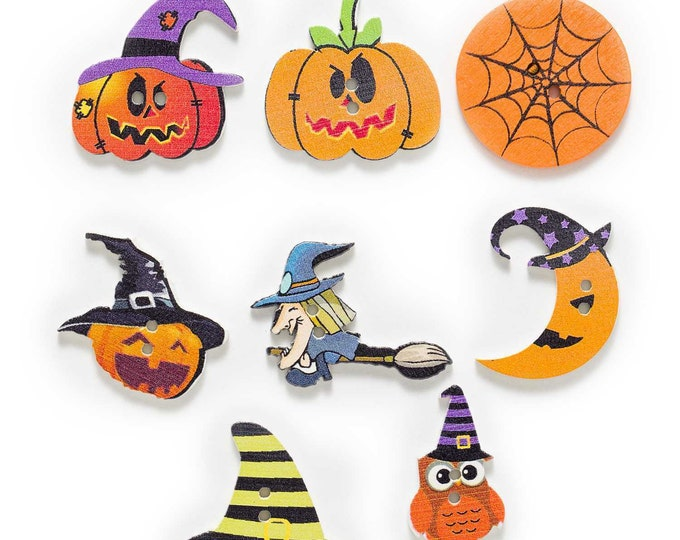 Halloween Buttons 10 Pieces Wood Buttons     CC