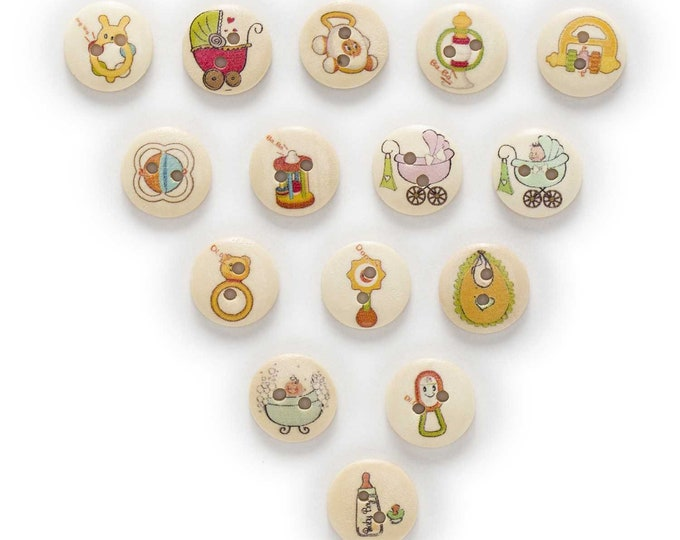 Buttons with Baby items Painted on  set of 10 / JJ
