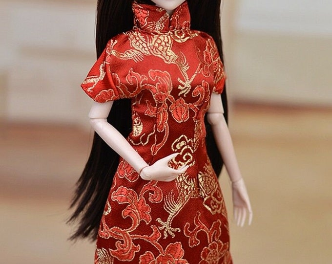 Barbie's Asian Red and Gold Dress and Shoes