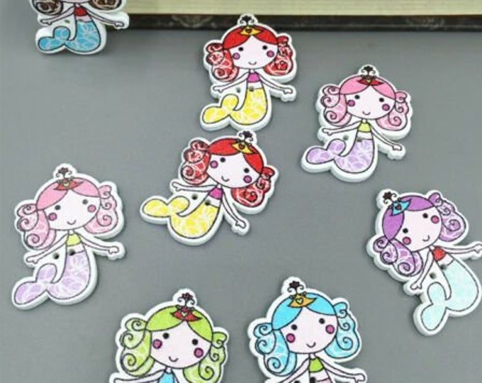 Mermaid Dye Cut Buttons  set of 10  /  103