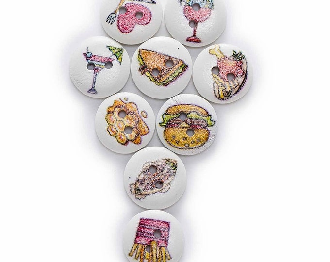 Fun Food Buttons  set of 10  / 00