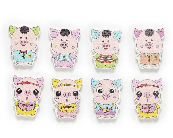 Piggie Dye Cut Buttons set of 10 / ii