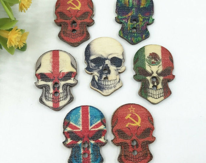 Skulls Scare Colorful Buttons   set of 10  /1C