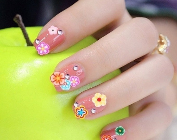 Nail Art 3D Fruit Feather Heart Tiny Slices Polymer Clay DIY Nail Sticker Decoration set 30 or so /N10