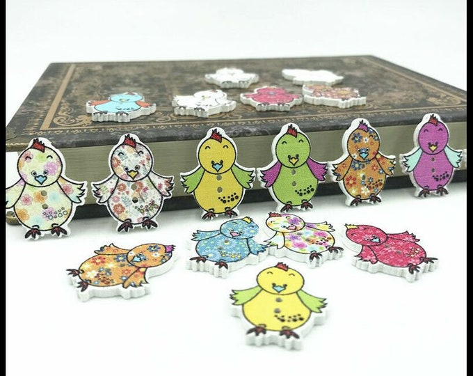 Happy Chicks Buttons  set of 10  /1F