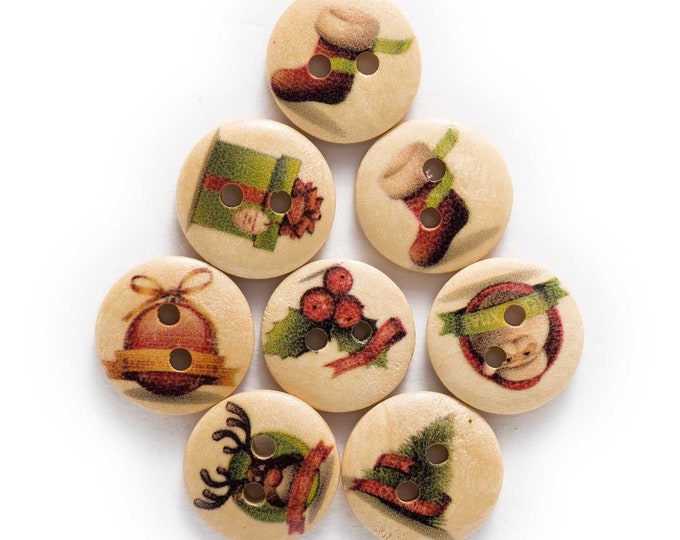 Christmas Decorated  Round Wood Buttons  set 10  E