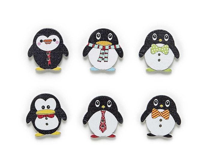 Penguin Buttons Cute Set of 10   /  1A