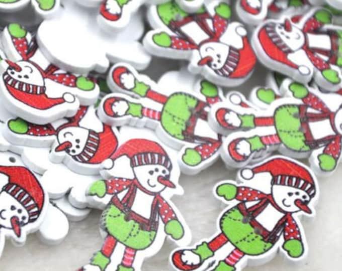 Snowman Christmas Buttons set of 10 / Q