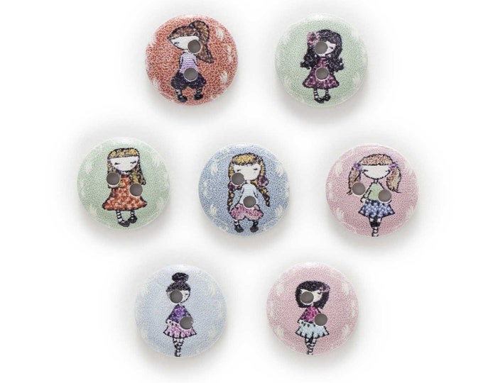 Little Buttons with Little Girls on them  Set of 10  /110
