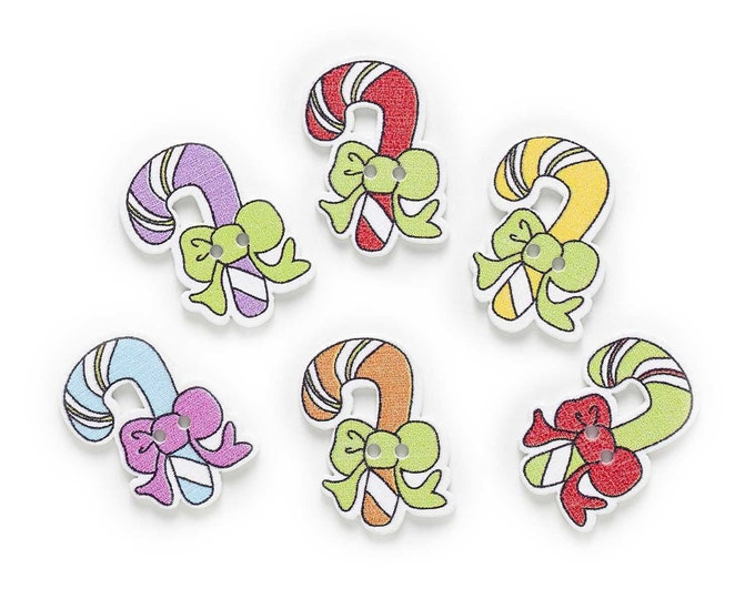 Candy Cane Buttons set of 10 / S