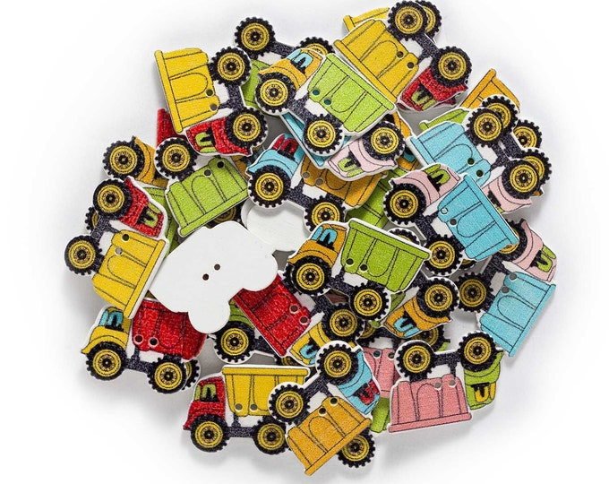 TRUCK Button Wood 10 Pieces   EE