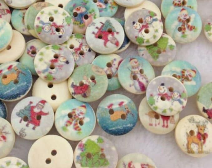 Christmas Buttons Set of 10  Santa Christmas trees snow man /   i