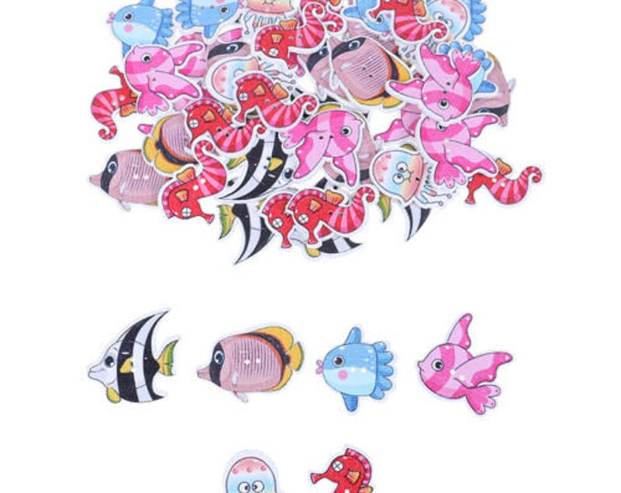 Buttons Ocean Creatures Fish Sea Horses and More Set of 10 / 225