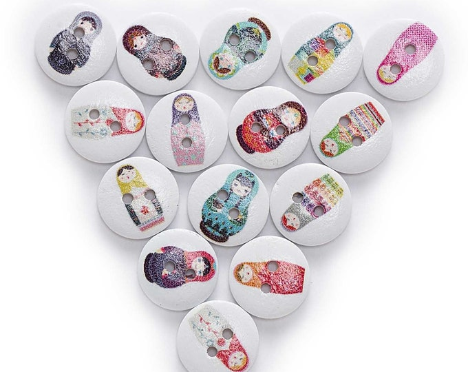 Russian Nesting Doll Buttons   set of 10  / 3