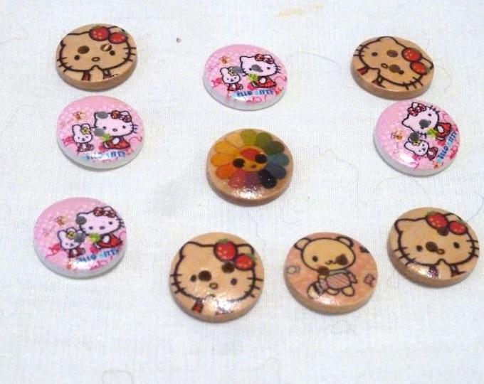 Button Kitties and Rain Bow set 10 /M24