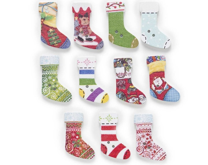 Christmas Socks Wood Buttons set 10       D