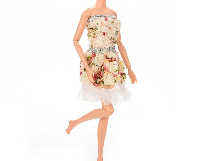 Barbie Fashion Doll 3D Flower Dress and Shoes