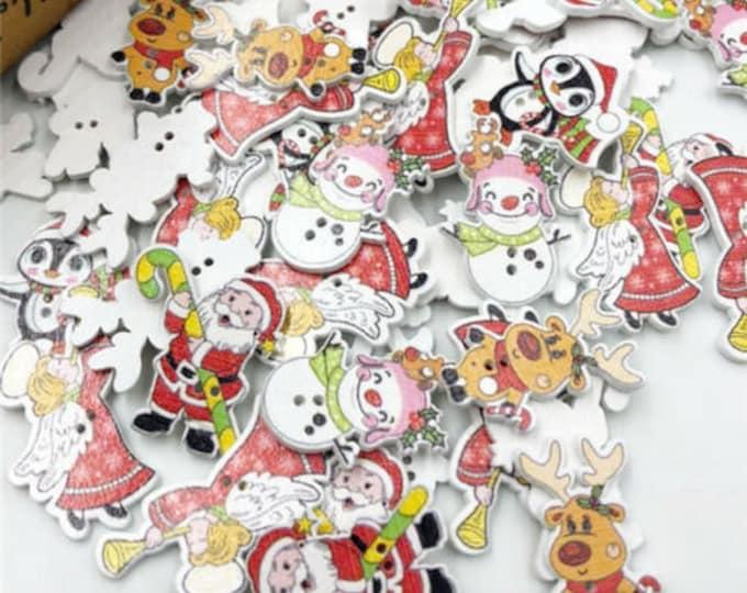 Buttons Dye Cut in Christmas Shapes Santa  snowmen reindeers penguin christmas tree  set of 10   J