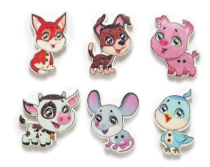 Mixed Dye Cut Animals Buttons set of 10 / KK