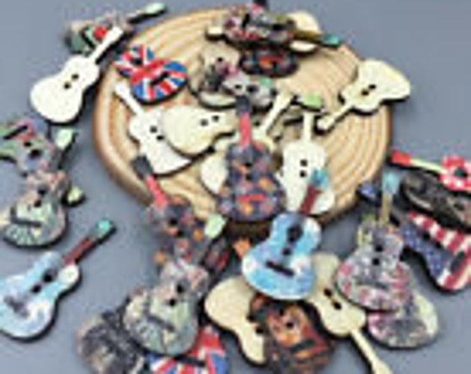 Guitar Buttons Colorful set of 10 / 14