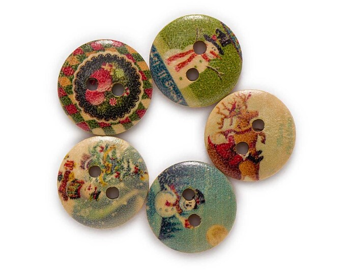 Christmas Fun Items Round Buttons  set    of 10 /   WW
