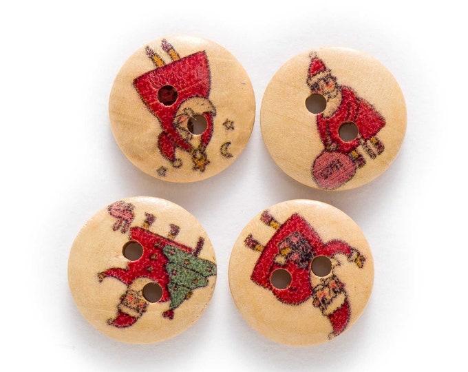 Santa Round Wood Buttons  set 10   F