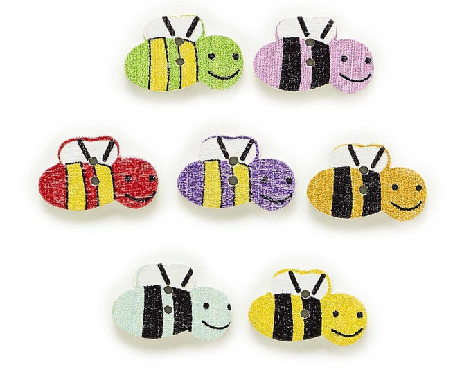 Bees Buttons  set of 10 /  RR