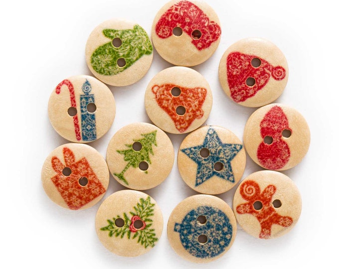 Christmas Series Wooden Buttons set of 10  / B