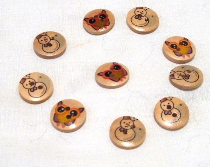 Buttons Snowman and Owls  set of 10 / M20
