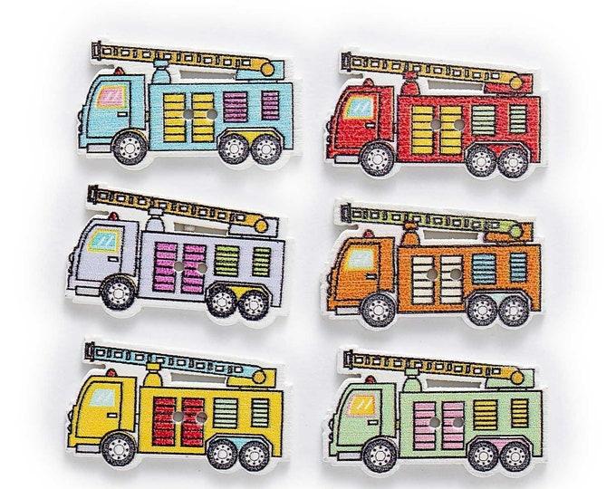 Firetruck Dye Cut Buttons   set of 10  /  ZZ