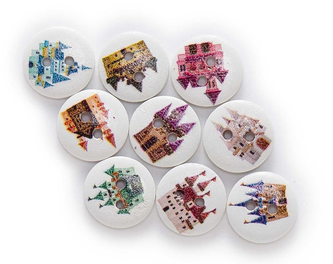 Castles For All Royals Buttons   set of 10  /SS