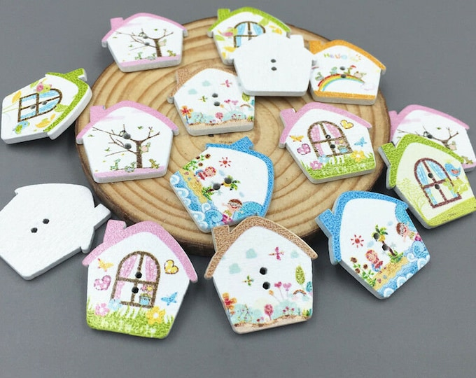 Buttons Spring Cottages Dye Cut Painted set of 10  / 77