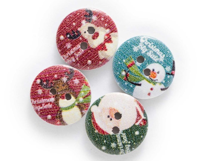 Christmas Wood Round Buttons with Sayings  set 10   H