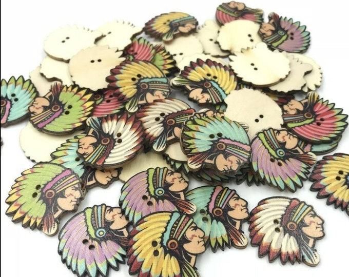 Indian Heads Buttons set of 10 / 1E