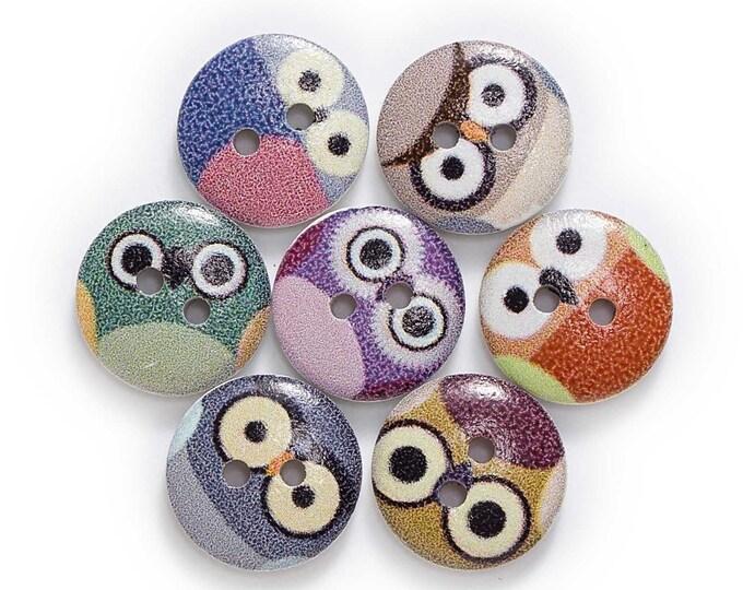 Owl Faces Round Button se of 10  /  8