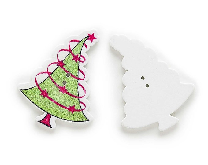 Festive Christmas Tree Dye Cute Buttons set if 5 ./  13