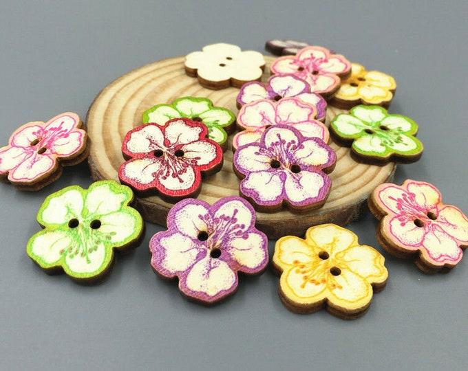 Buttons Dye Cut Flowers  set of 10  / 222