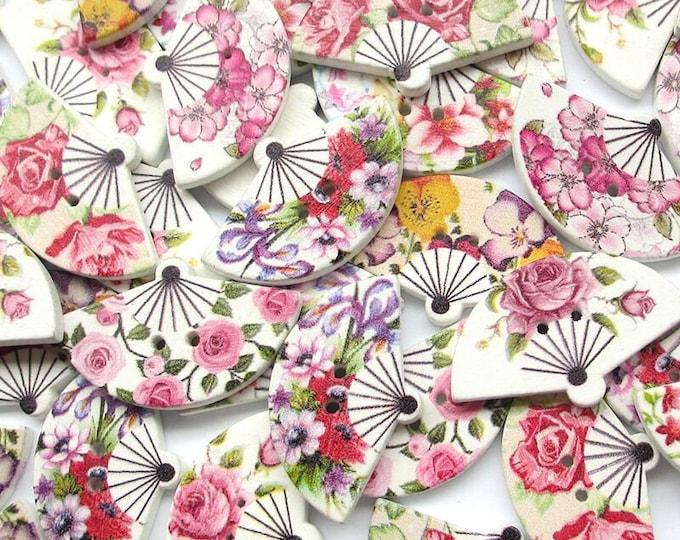 Beautiful Flowered Fans Buttons set of 10  / 50