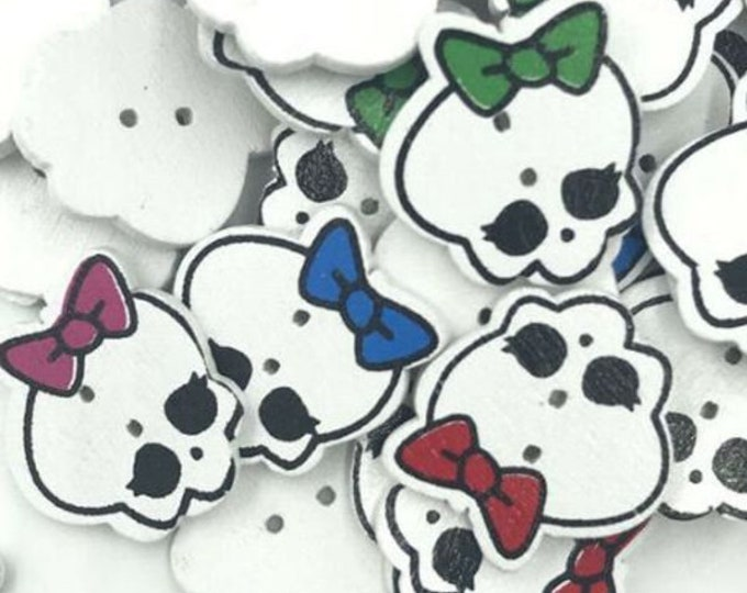 Skulls Girly White With Colored Bows  set of 10/  1B