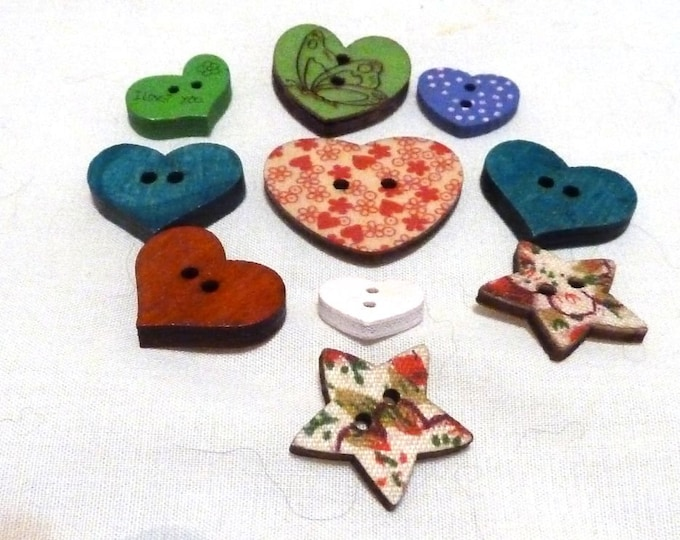 Buttons  mixed  Hearts and Stars  set of 10  /  M8\