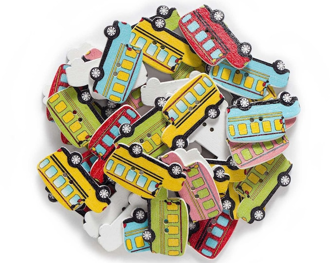 School Bus Wood Buttons 10 pieces  DD