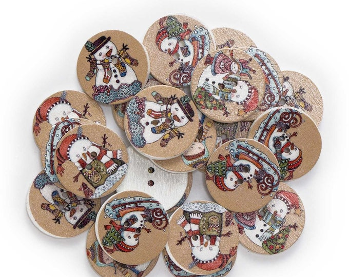 Snow Man Christmas Wood Round Buttons set 10 / 119