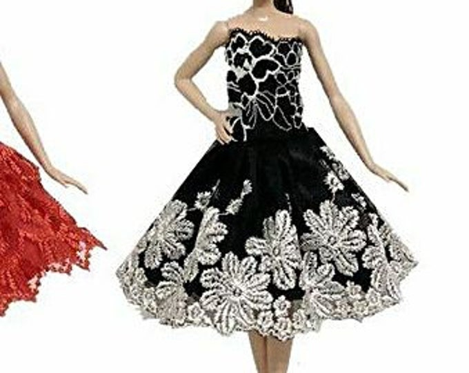 Barbie Doll Black and White  Embroidered Ballet Outfit and Slippers