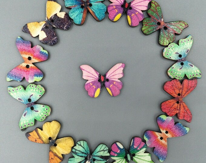 Butterfly Colorful Buttons  set of 10   /  66