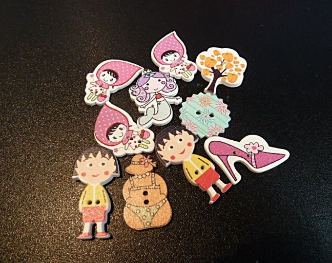 Buttons Larger Characters   set of10 / M6