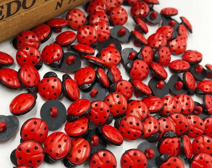Lady Bug Shank Buttons  New set of 10  /  40