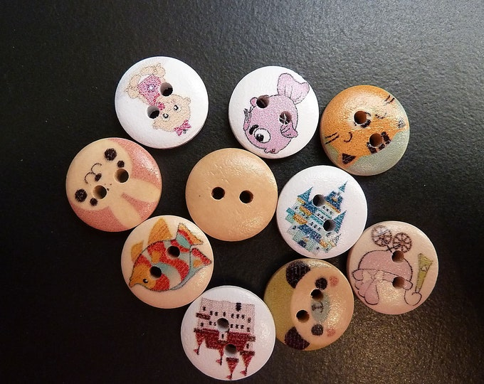 Buttons Set of 10 mixed Round  /M1